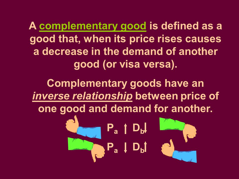 A complementary good is defined as a good that, when its price rises causes a decrease in the demand of another good (or visa versa).