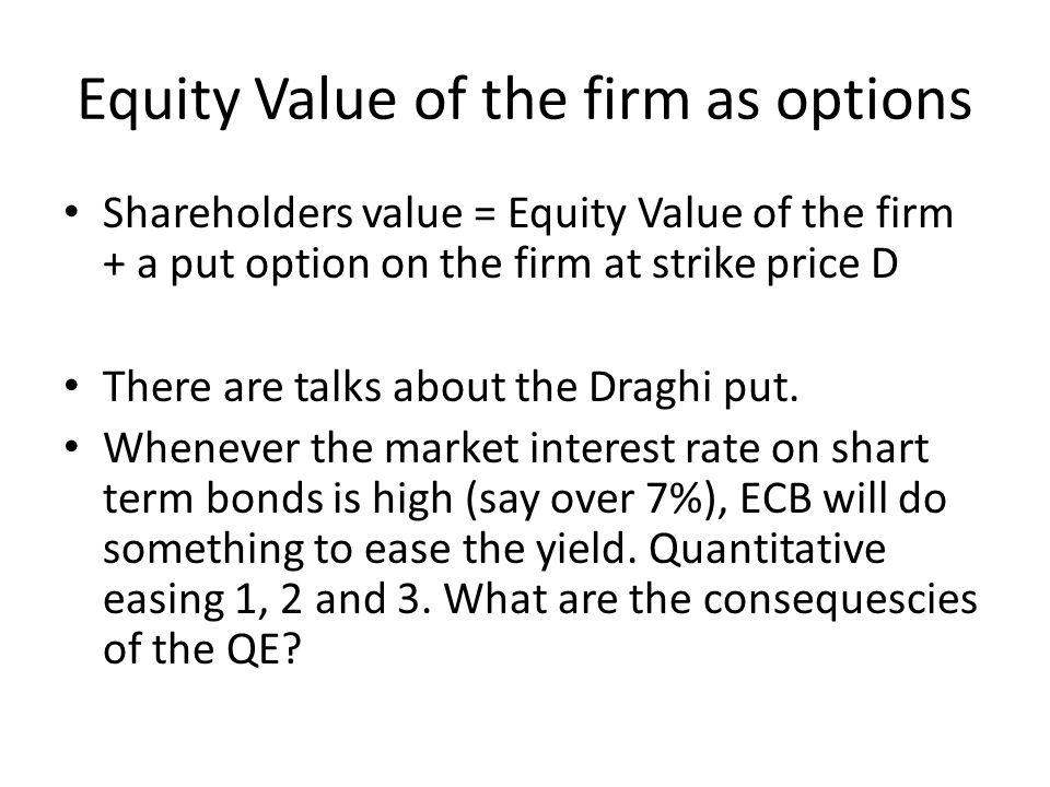 Equity Value of the firm as options