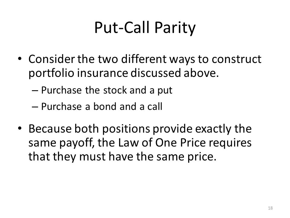 Put-Call Parity Consider the two different ways to construct portfolio insurance discussed above. Purchase the stock and a put.