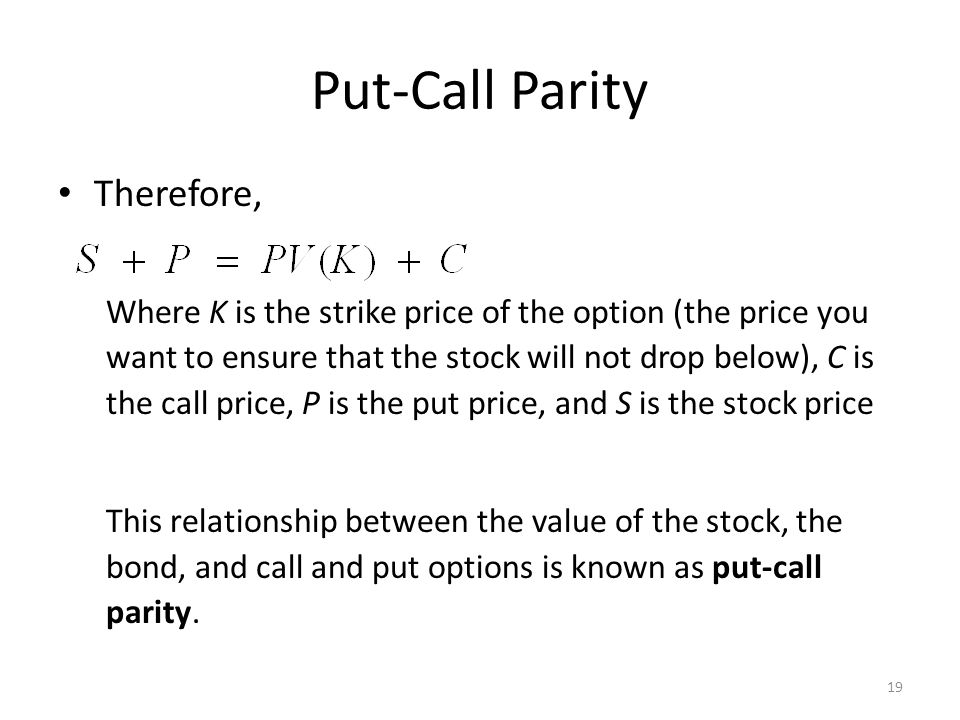 Put-Call Parity Therefore,