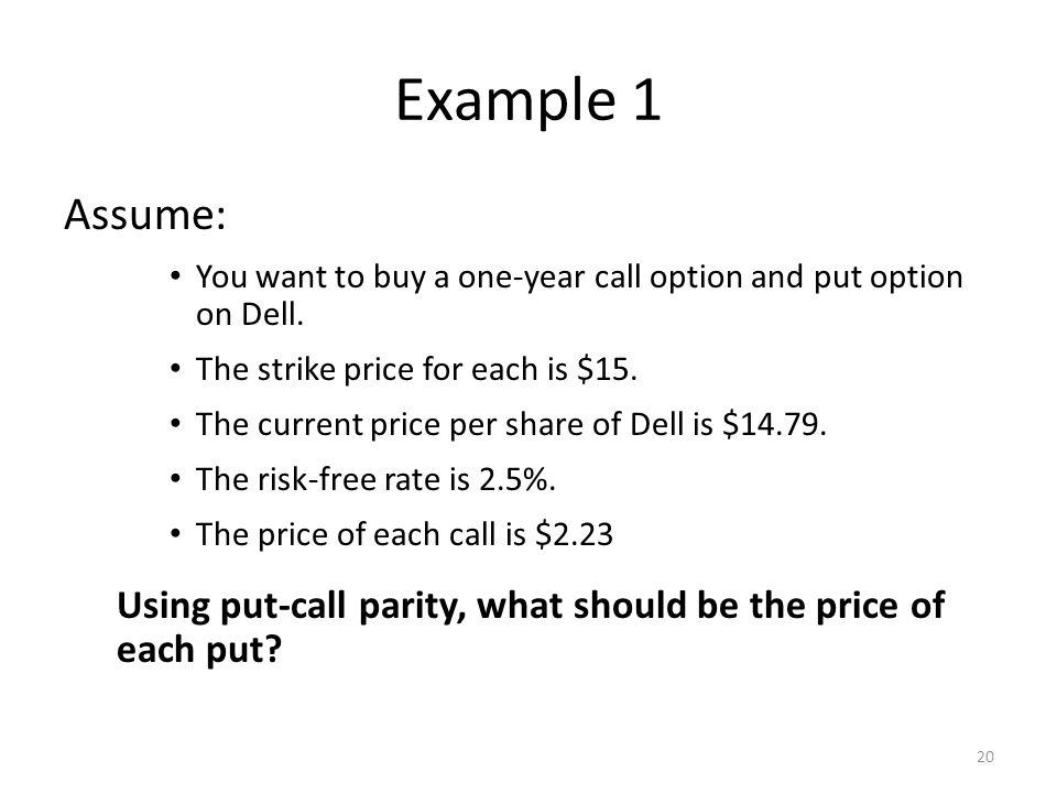 Example 1 Assume: You want to buy a one-year call option and put option on Dell. The strike price for each is $15.