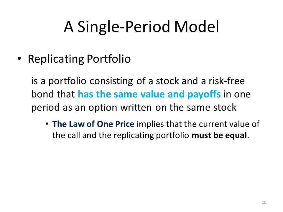 A Single-Period Model Replicating Portfolio