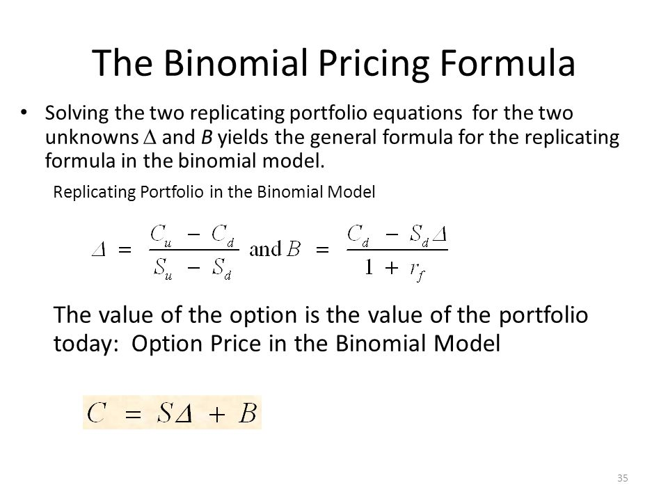 The Binomial Pricing Formula