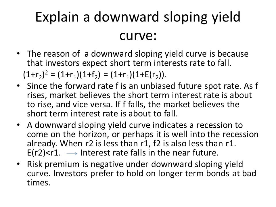 Explain a downward sloping yield curve:
