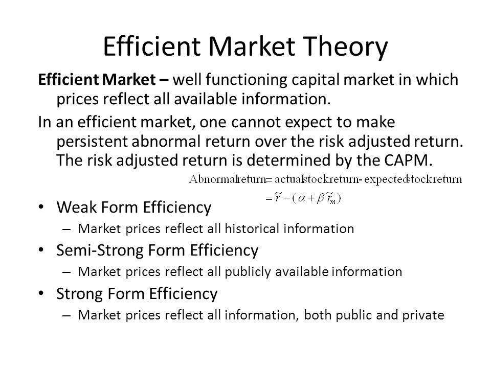 Efficient Market Theory