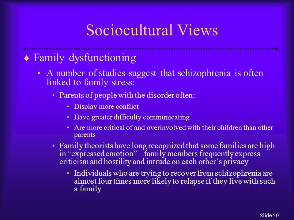 Sociocultural Views Family dysfunctioning