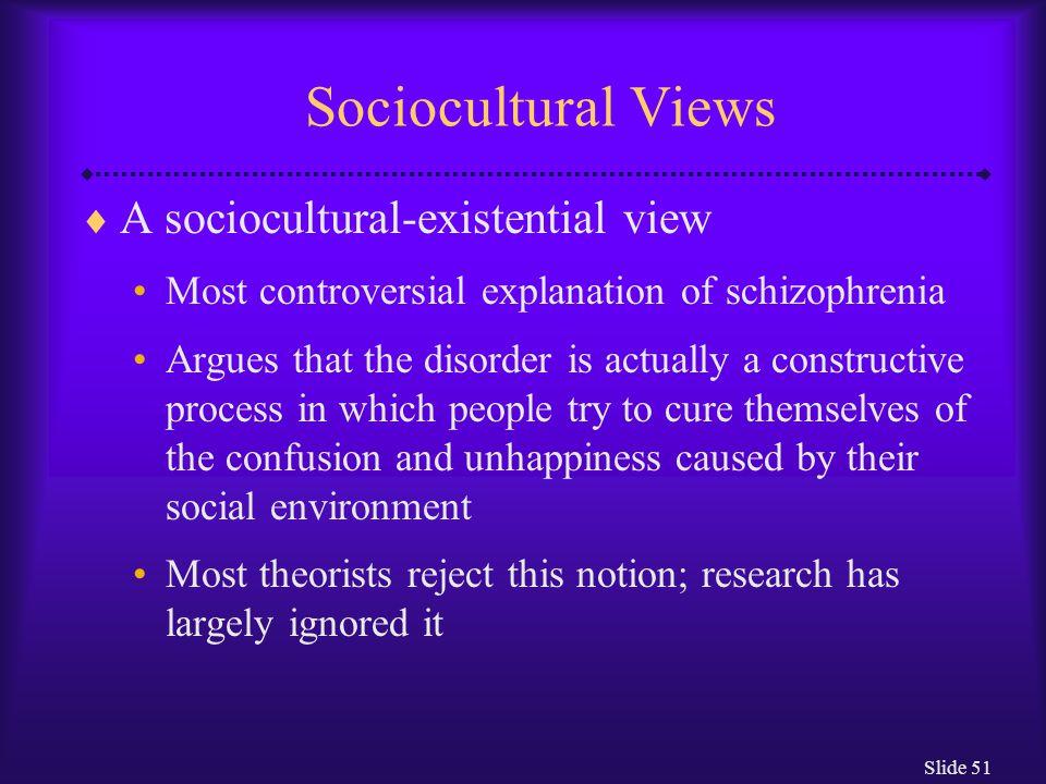 Sociocultural Views A sociocultural-existential view