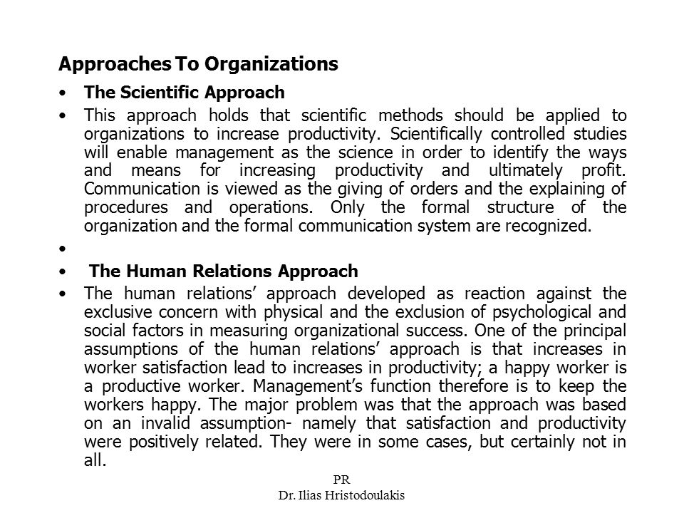 Approaches To Organizations