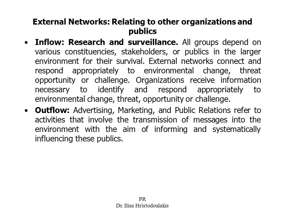 External Networks: Relating to other organizations and publics