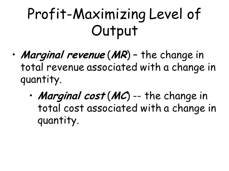 Profit-Maximizing Level of Output