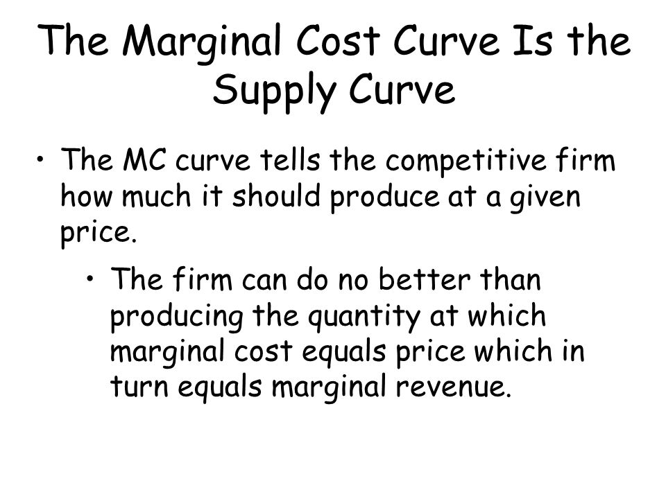 The Marginal Cost Curve Is the Supply Curve