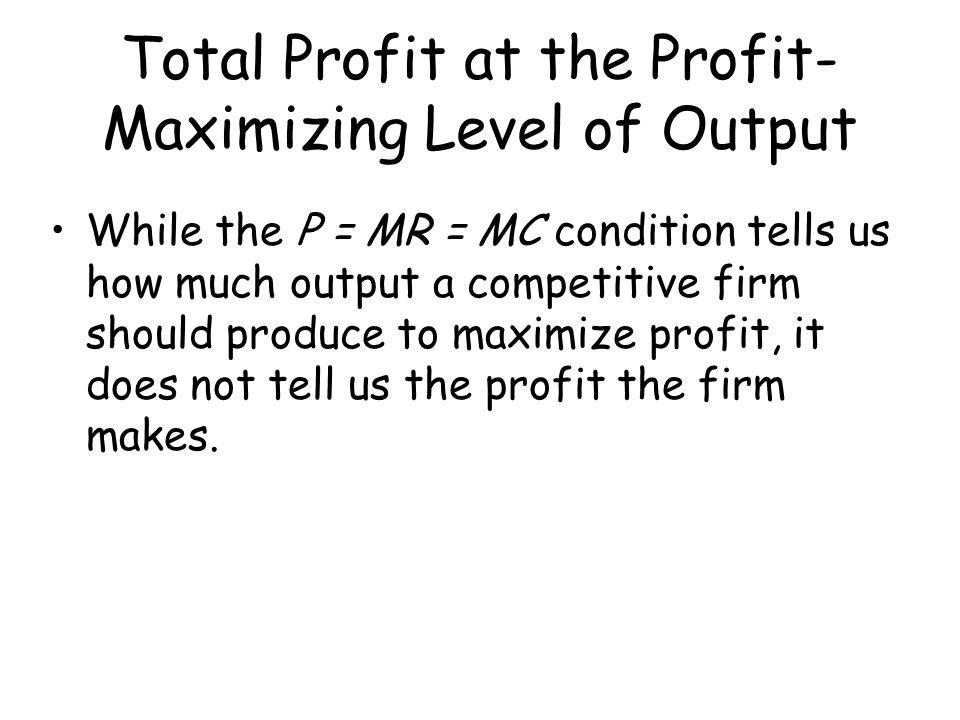 Total Profit at the Profit-Maximizing Level of Output