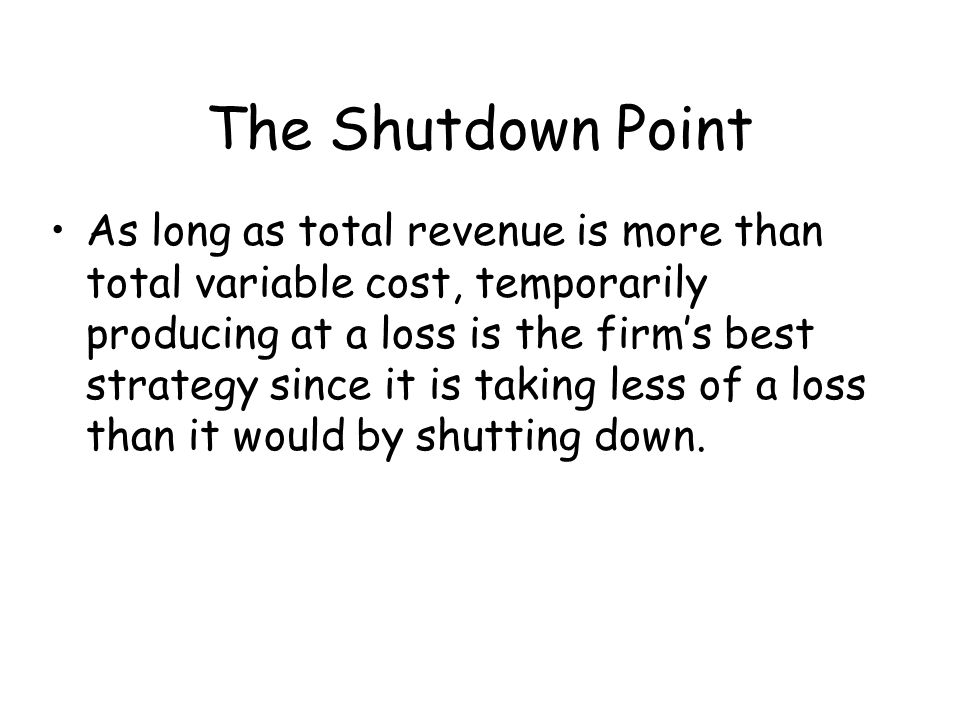 The Shutdown Point
