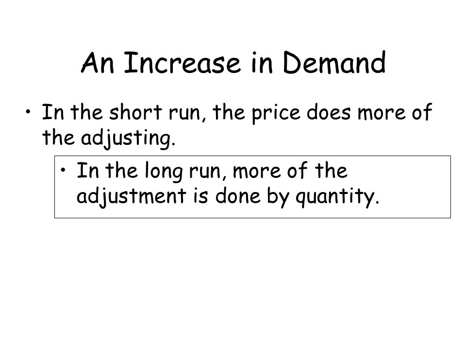 An Increase in Demand In the short run, the price does more of the adjusting.
