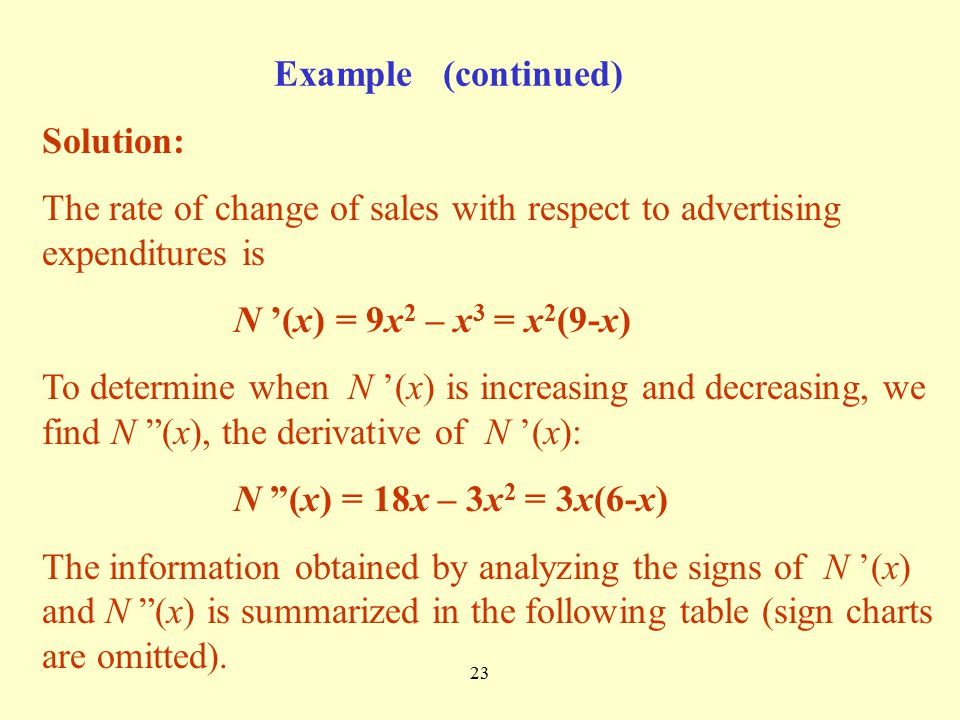 Example (continued) Solution: The rate of change of sales with respect to advertising expenditures is.