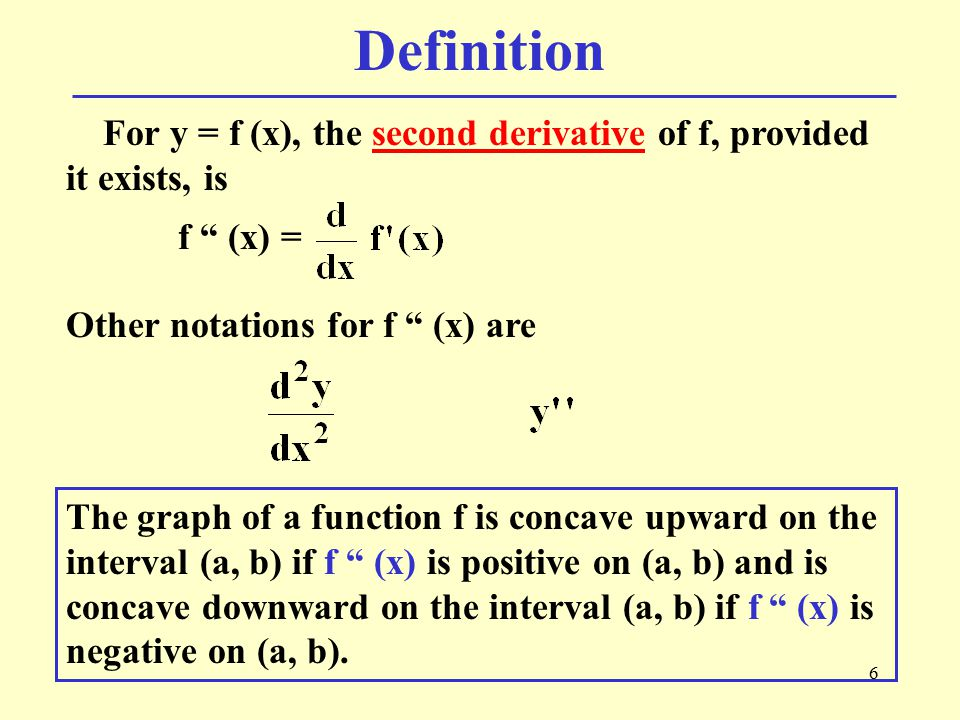 Definition For y = f (x), the second derivative of f, provided it exists, is. f (x) = Other notations for f (x) are.