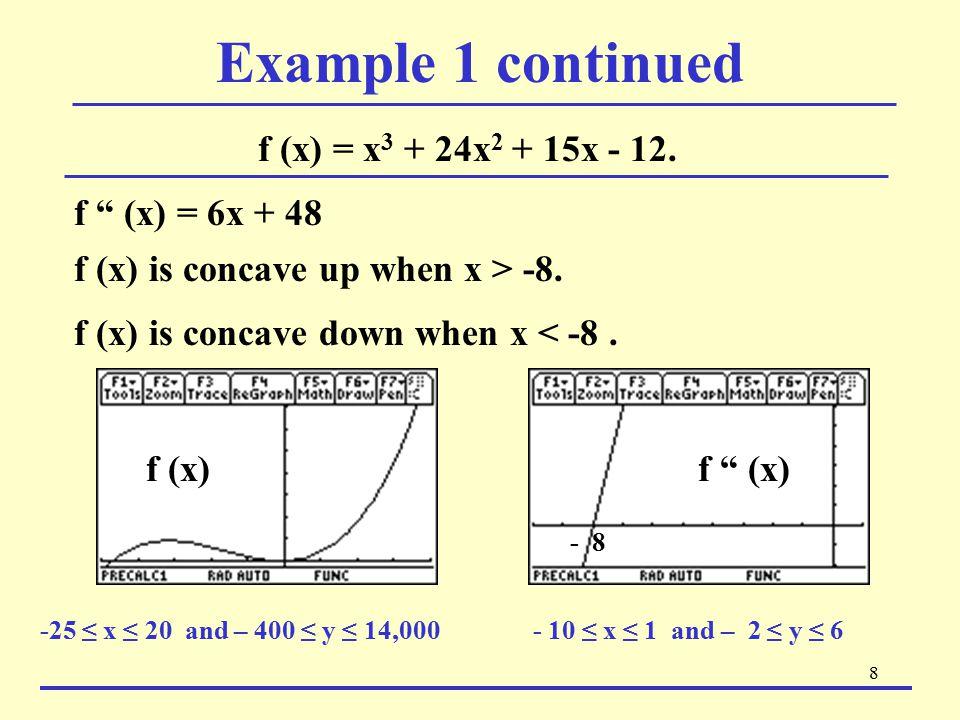 Example 1 continued f (x) = x3 + 24x2 + 15x - 12. f (x) = 6x + 48