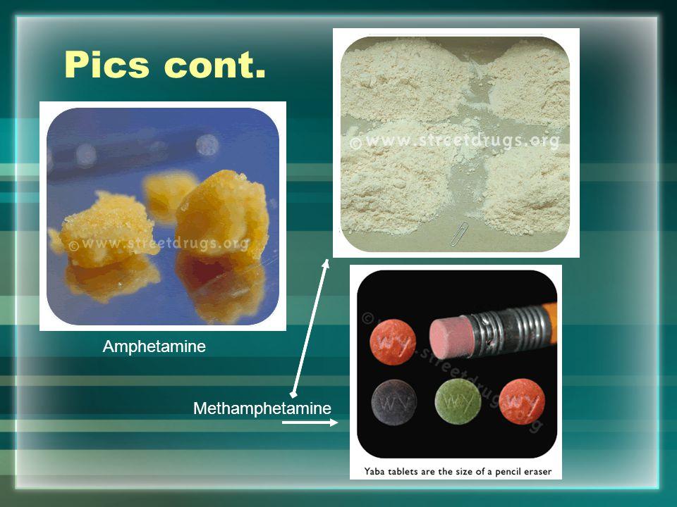 Pics cont. Amphetamine Methamphetamine