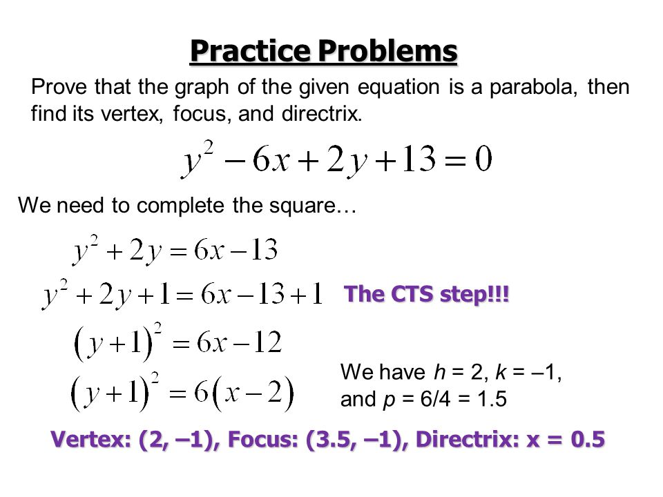 Practice Problems Prove that the graph of the given equation is a parabola, then. find its vertex, focus, and directrix.