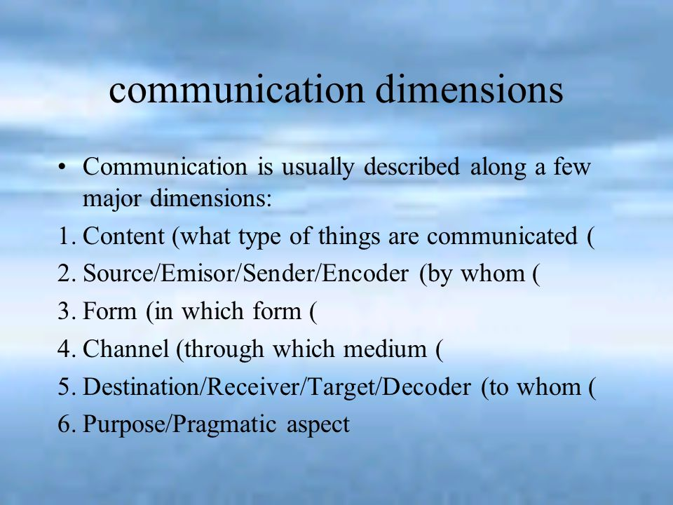 communication dimensions