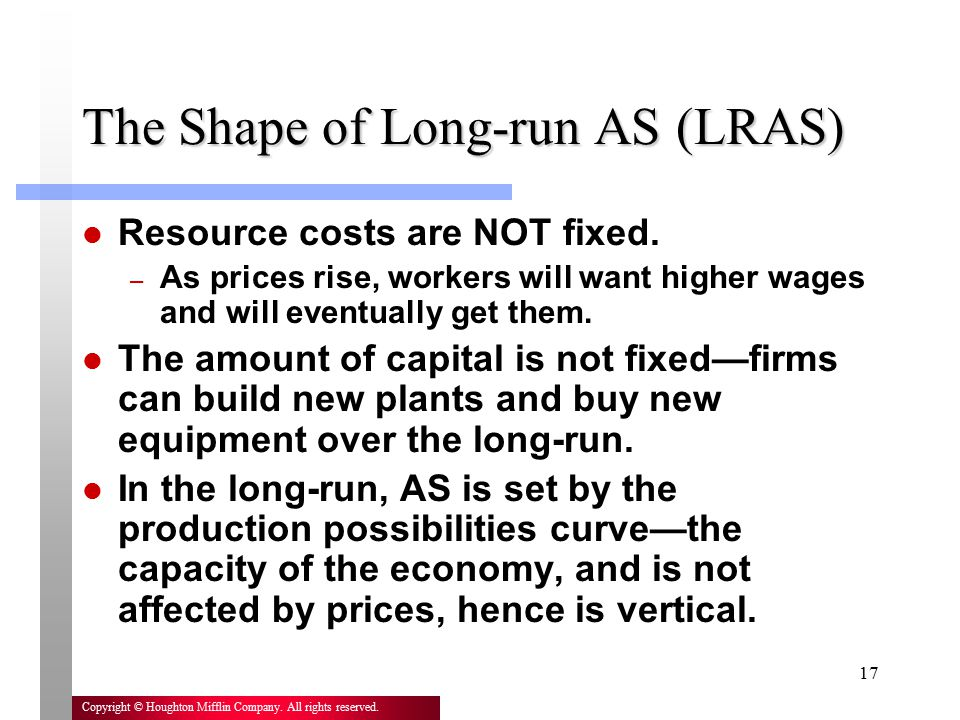 The Shape of Long-run AS (LRAS)