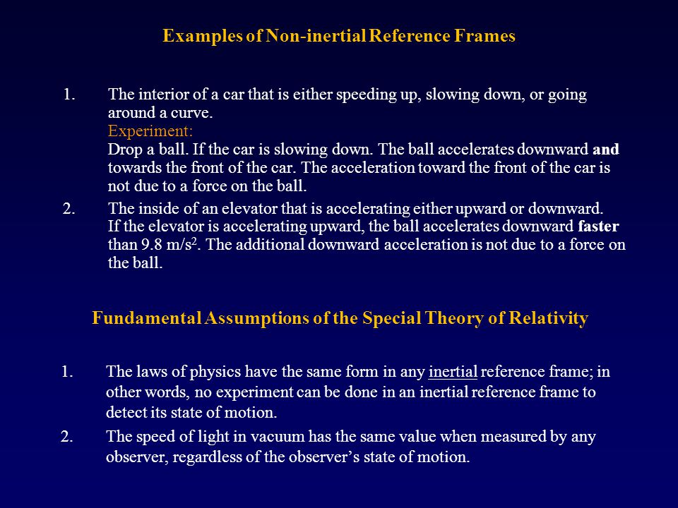 Examples of Non-inertial Reference Frames