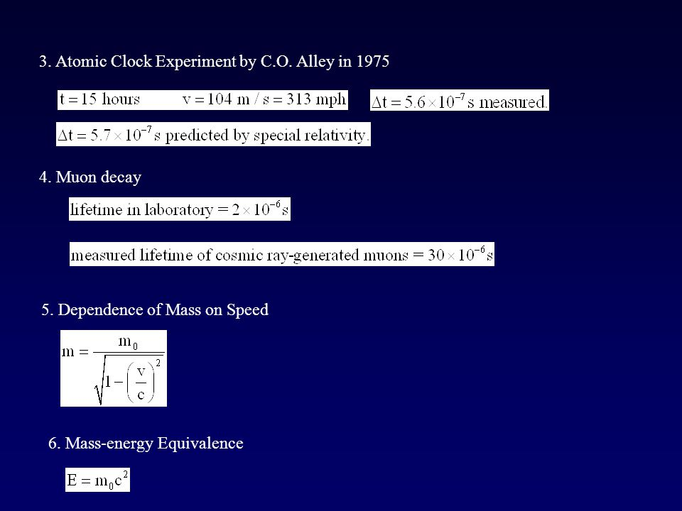 3. Atomic Clock Experiment by C.O. Alley in 1975