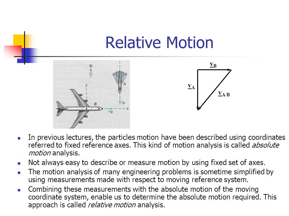 Relative Motion vB vA vA/B