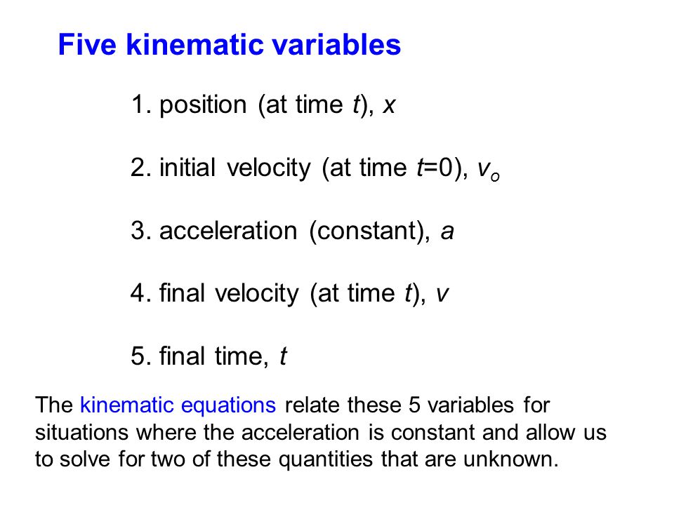 Five kinematic variables