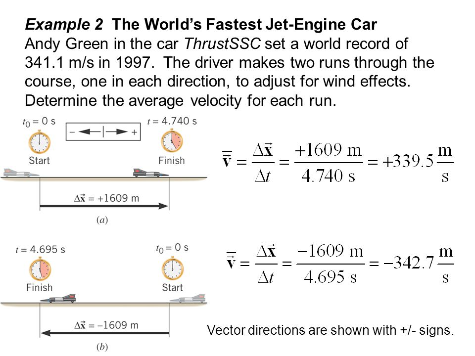 Example 2 The World's Fastest Jet-Engine Car