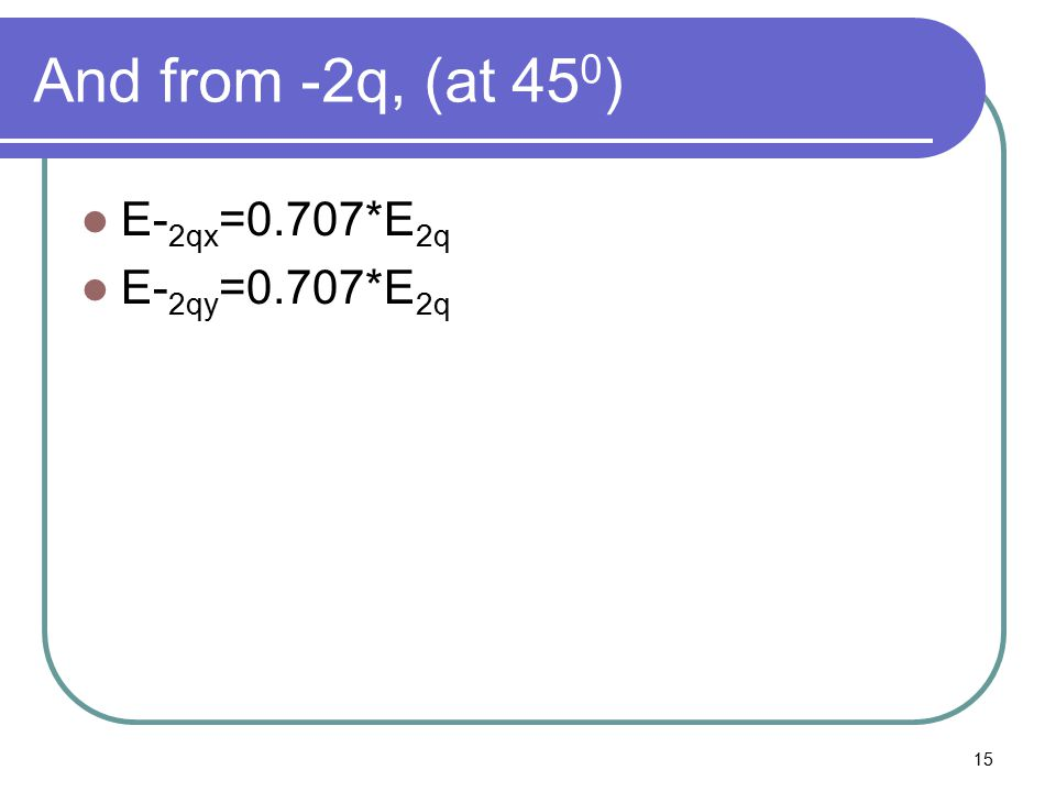 And from -2q, (at 450) E-2qx=0.707*E2q E-2qy=0.707*E2q