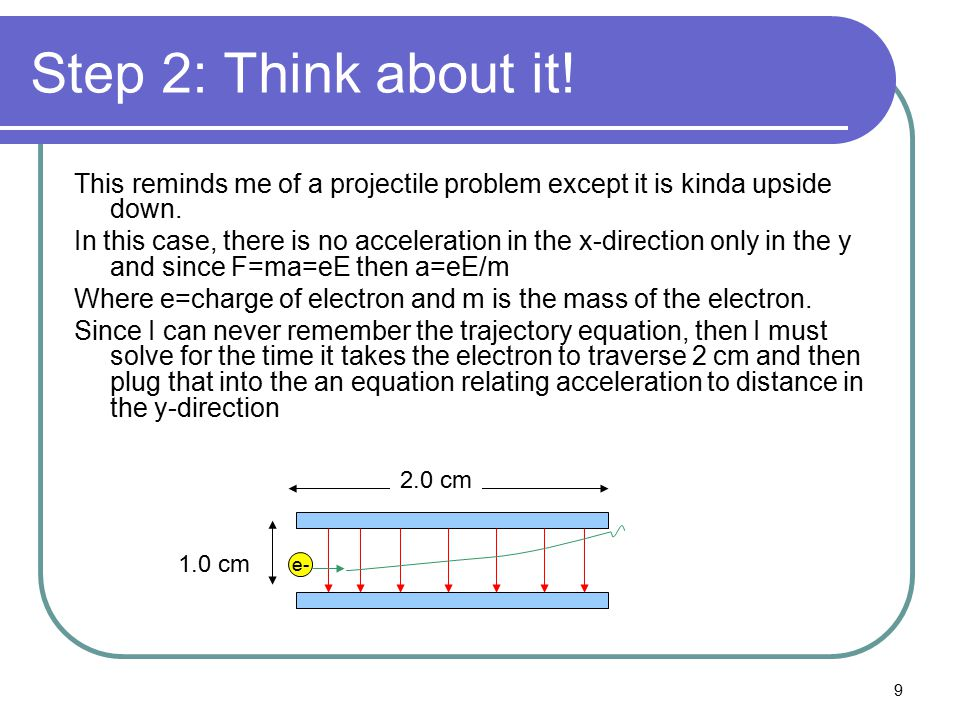 Step 2: Think about it! This reminds me of a projectile problem except it is kinda upside down.
