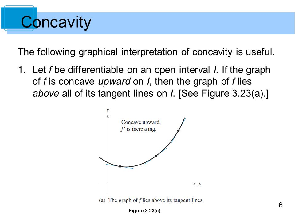 Concavity The following graphical interpretation of concavity is useful.