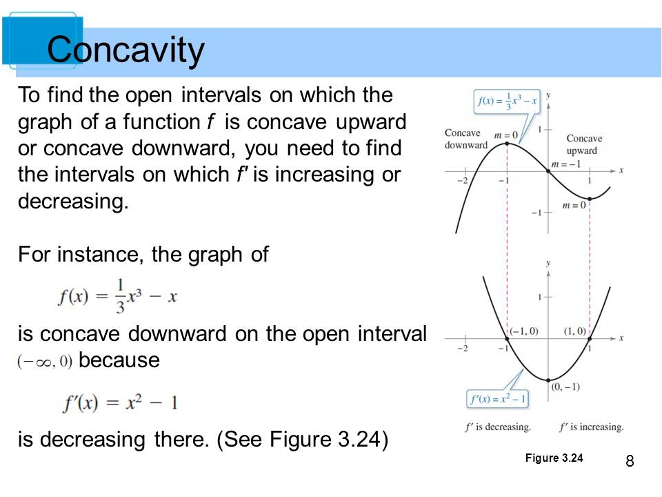 Concavity To find the open intervals on which the