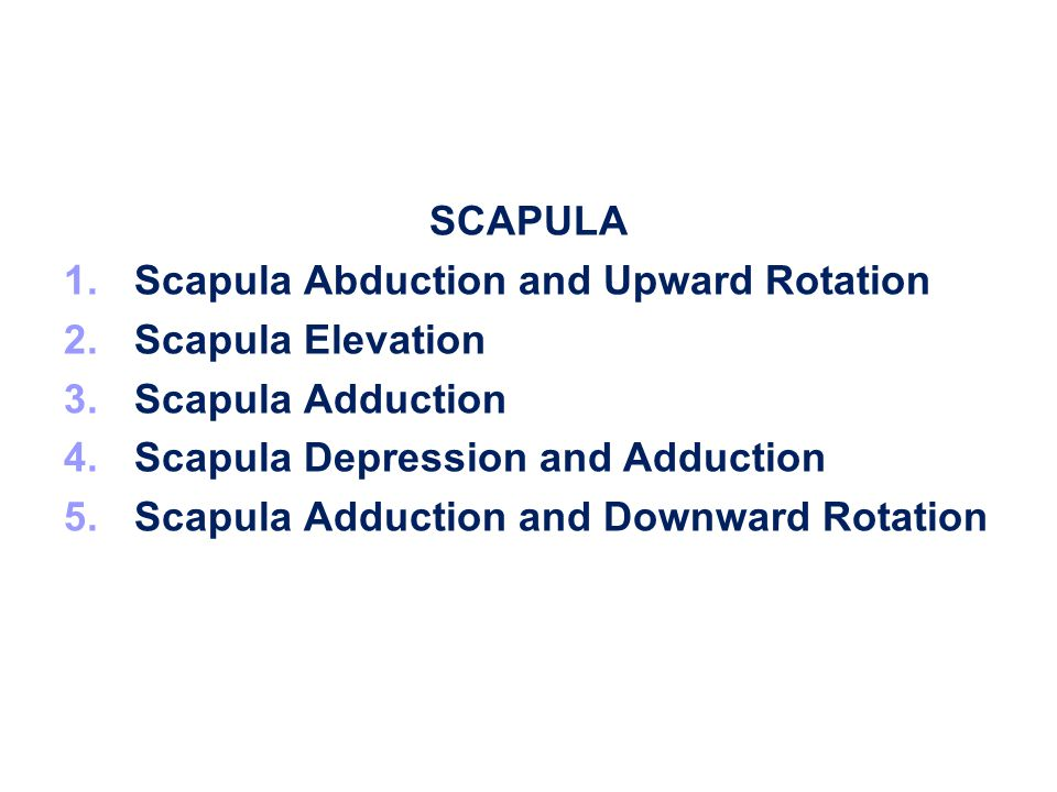 SCAPULA Scapula Abduction and Upward Rotation. Scapula Elevation. Scapula Adduction. Scapula Depression and Adduction.