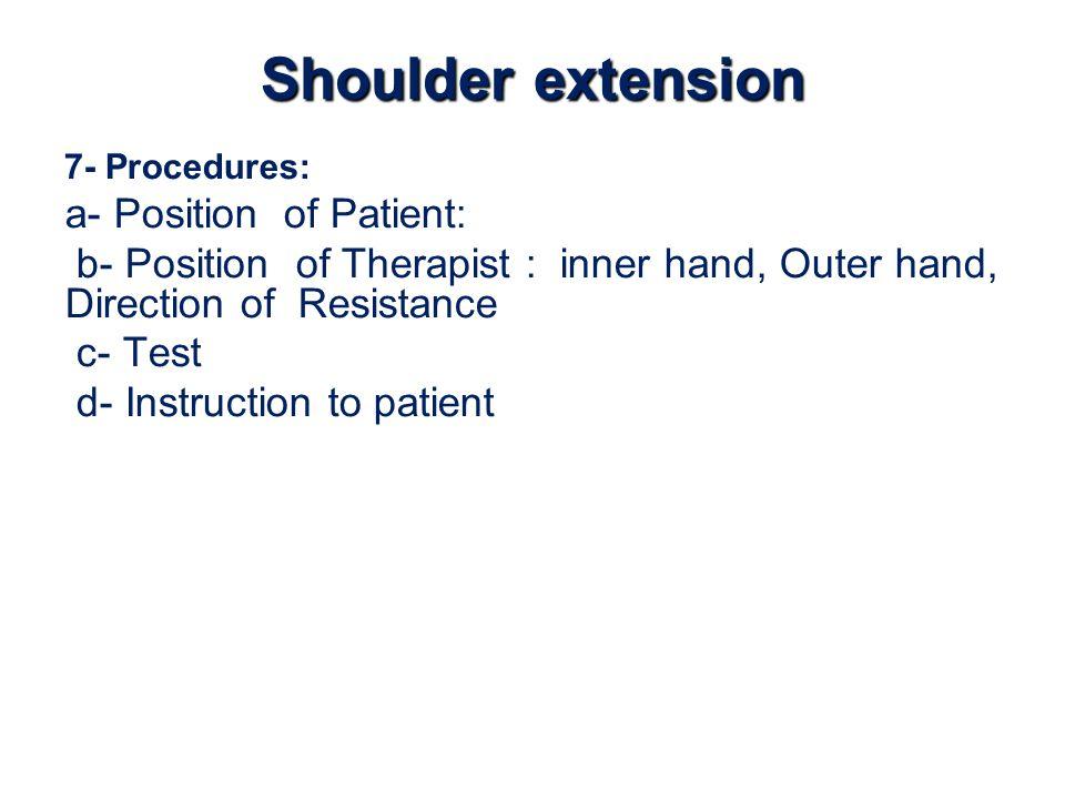 Shoulder extension a- Position of Patient: