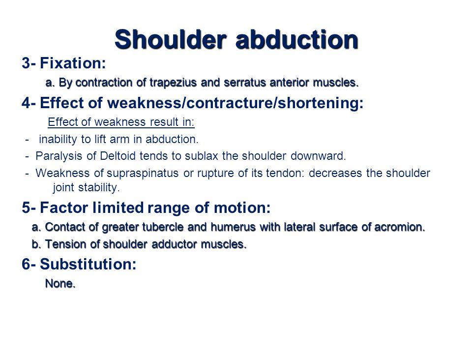 Shoulder abduction 3- Fixation: