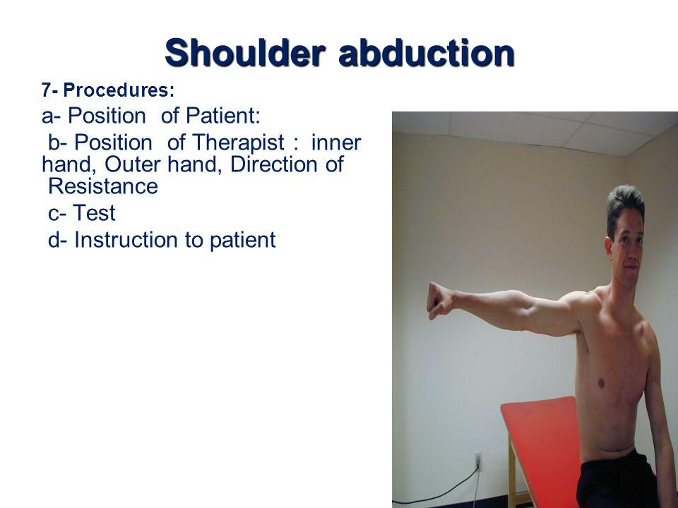 Shoulder abduction a- Position of Patient: