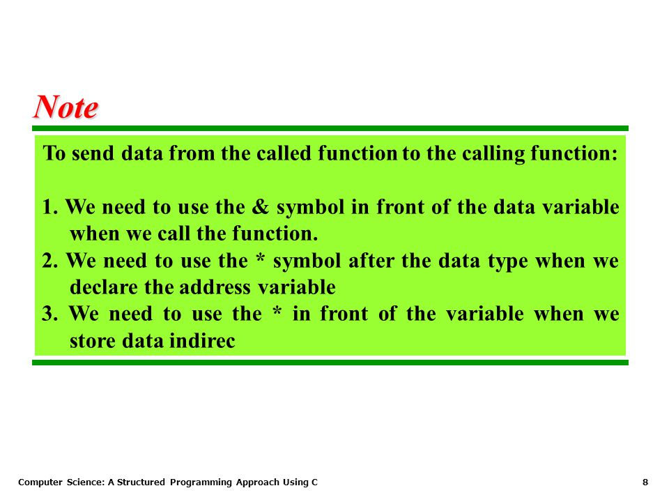 To send data from the called function to the calling function: