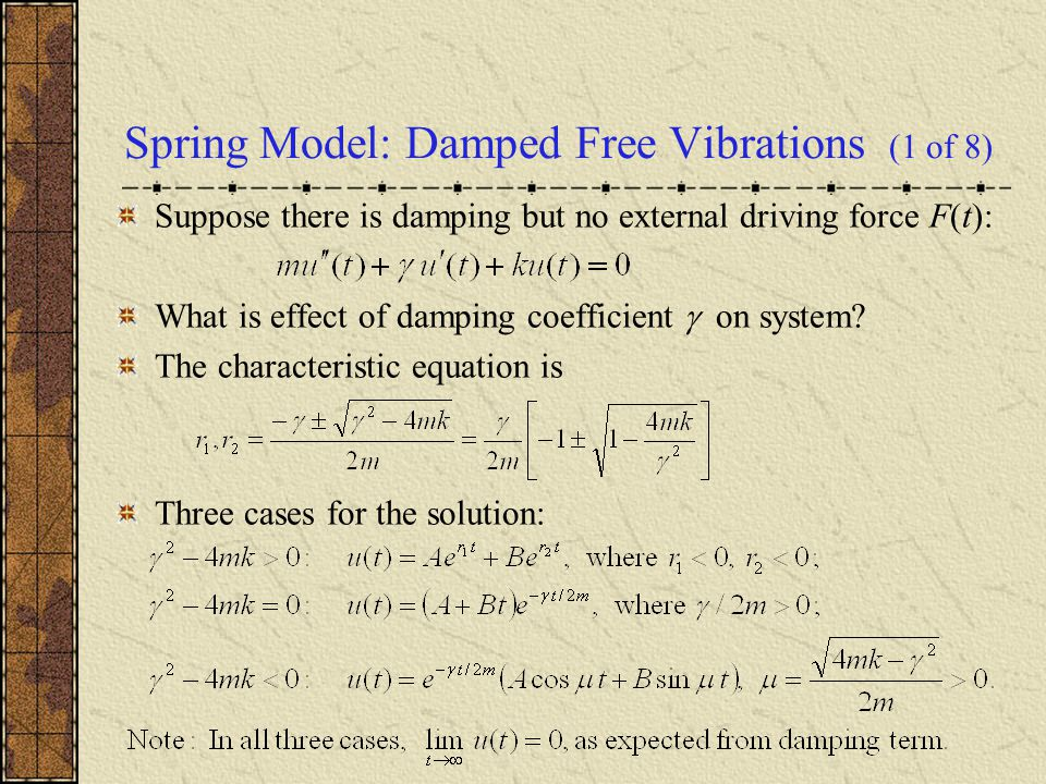 Spring Model: Damped Free Vibrations (1 of 8)