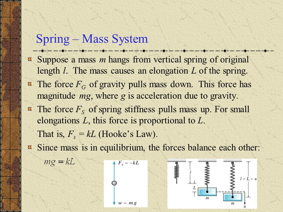 Spring – Mass System Suppose a mass m hangs from vertical spring of original length l. The mass causes an elongation L of the spring.
