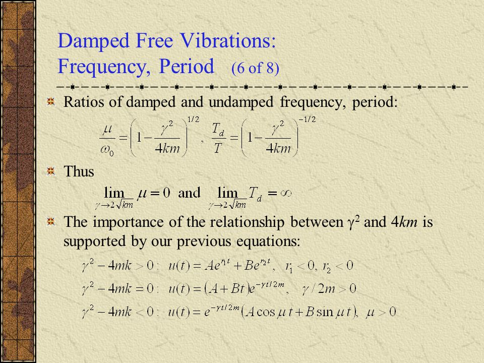 Damped Free Vibrations: Frequency, Period (6 of 8)
