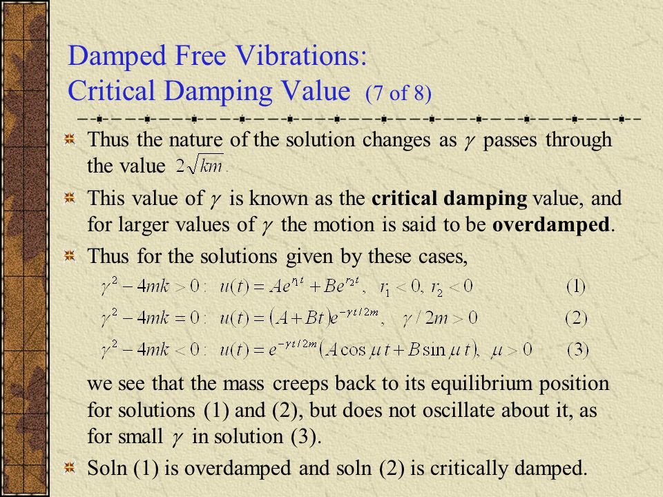 Damped Free Vibrations: Critical Damping Value (7 of 8)