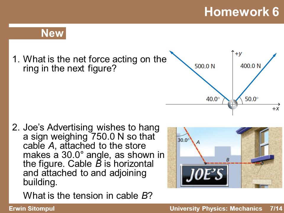 Homework 6 New. 1. What is the net force acting on the ring in the next figure