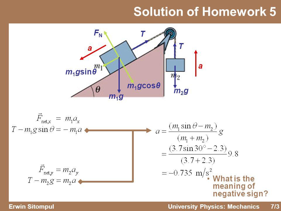 Solution of Homework 5 FN T T a a m1gsinθ m1gcosθ m2g m1g