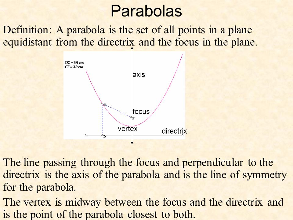 Parabolas Definition: A parabola is the set of all points in a plane equidistant from the directrix and the focus in the plane.