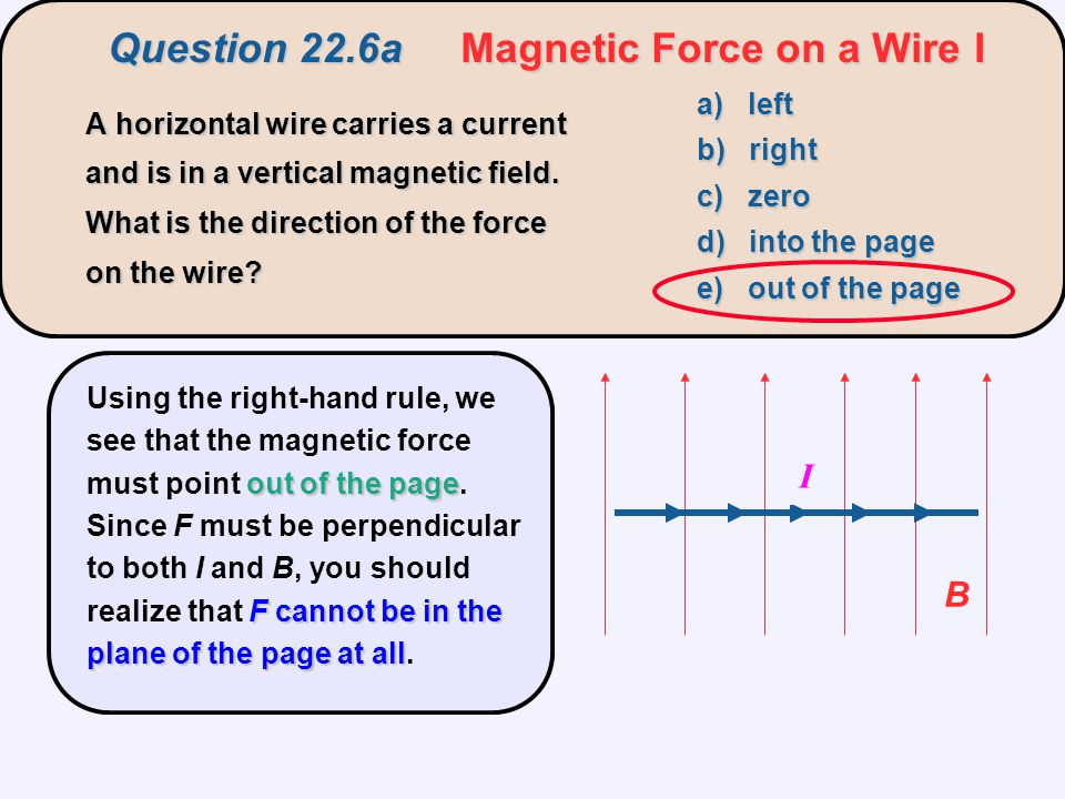Question 22.6a Magnetic Force on a Wire I