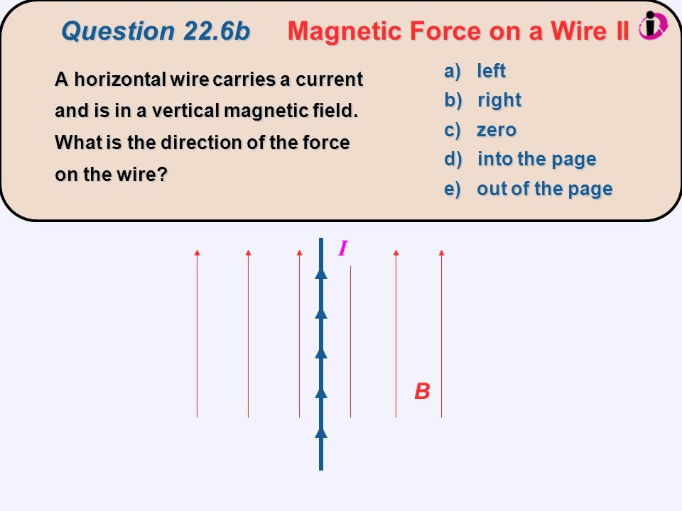 Question 22.6b Magnetic Force on a Wire II