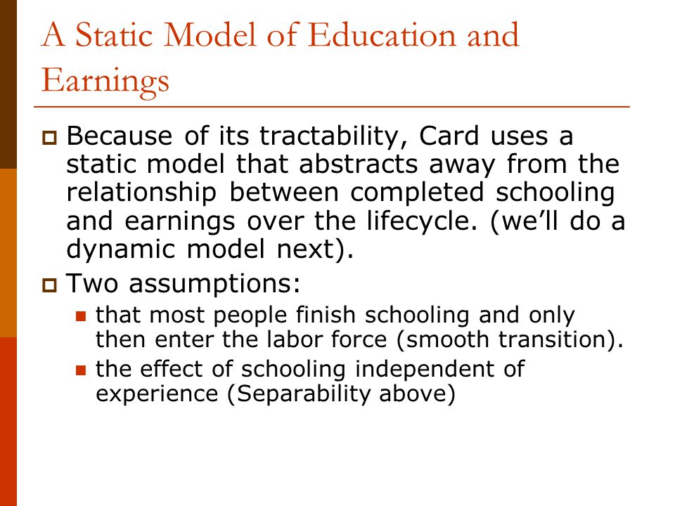 A Static Model of Education and Earnings