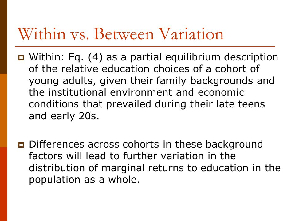 Within vs. Between Variation